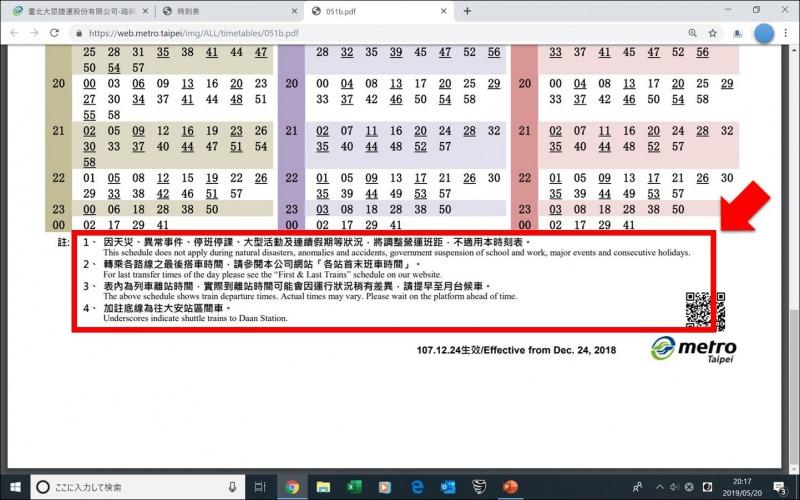 台北MRT_HP_時刻表の備考訳