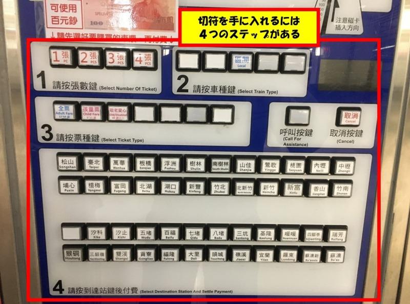 台湾_鉄道_券売機_操作ボタン
