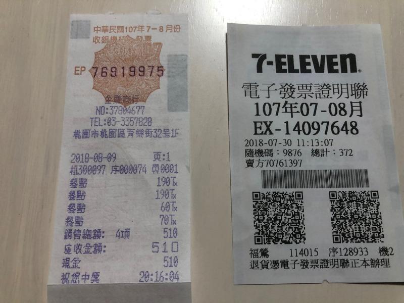 台湾_レシート_表面