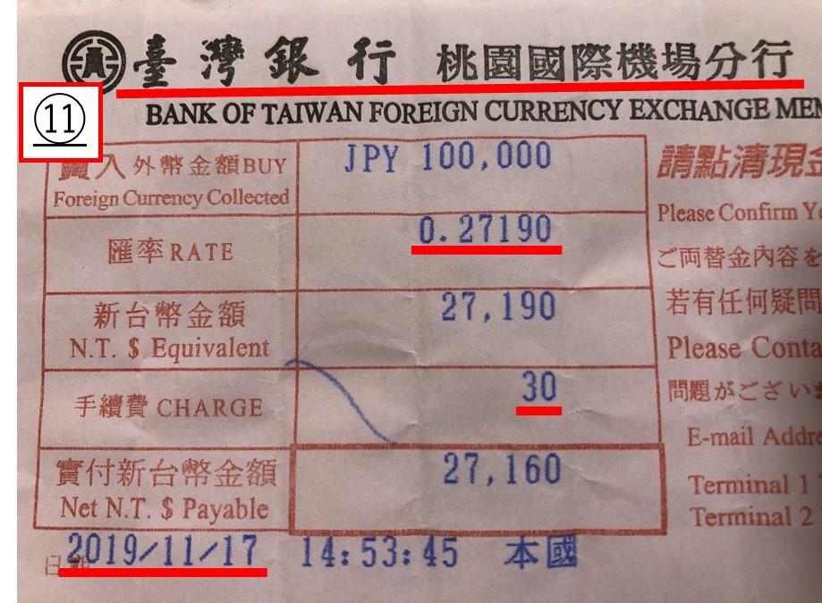 台湾現地の銀行_台湾桃園空港_到着ロビー_台湾銀行_レート