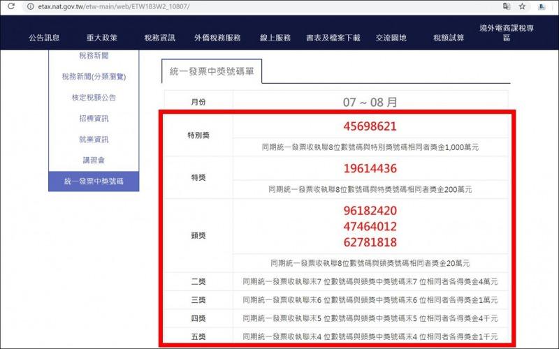 台湾_財務部_HP_レシート当選番号3