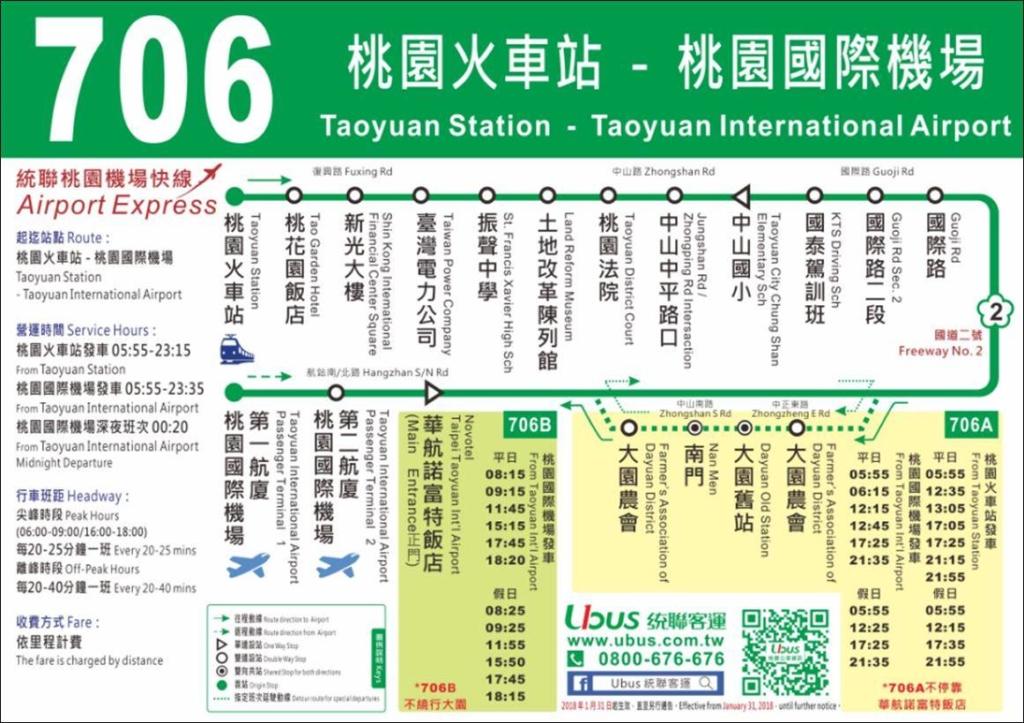 桃園火車駅-桃園国際空港_連絡バス_路線図706